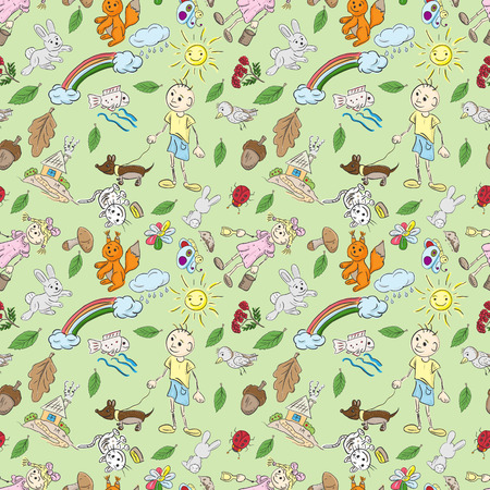 Children's seamless pattern in the style of sketch elements