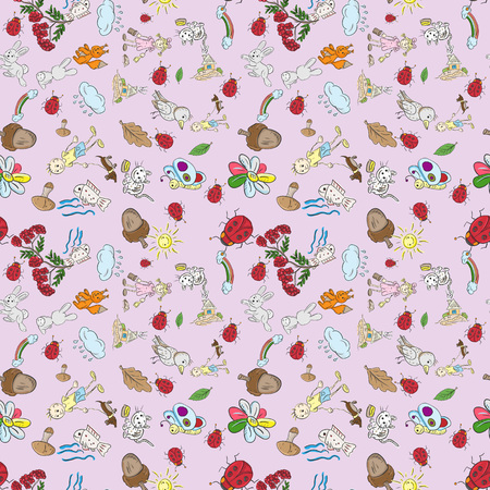 Color vector Childrens seamless pattern in the style of sketch elements for design nature Pets plants kids boy girl nature is isolated purple background