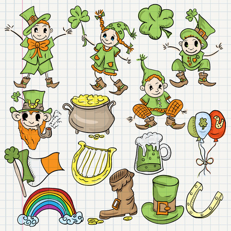 vector colored childrens illustration elements for design of the Irish holiday St. Patricks day