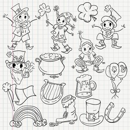vector childrens illustration elements for design of the Irish holiday St. Patricks day sketch Illustration