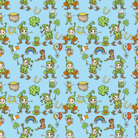 vector St. Patricks day seamless pattern of symbols and holiday decoration elements blue background.