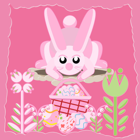 Flat illustration of a pink rabbit near a hole among flowers looking at a basket of Easter eggs.