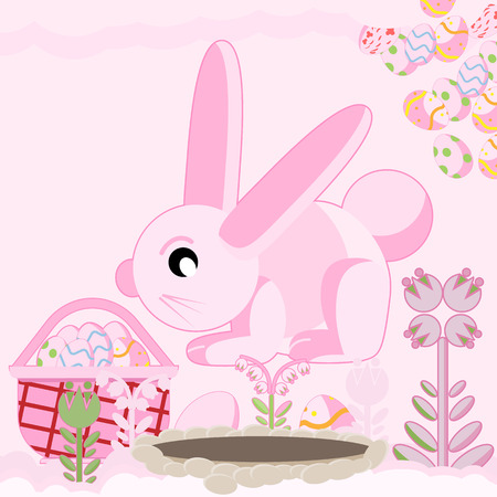 Vector flat illustration of a pink rabbit near a hole among flowers sitting near a basket of Easter eggs
