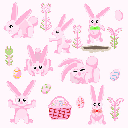 Illustration elements for flat design set of pink Easter rabbits in different poses with Easter eggs.