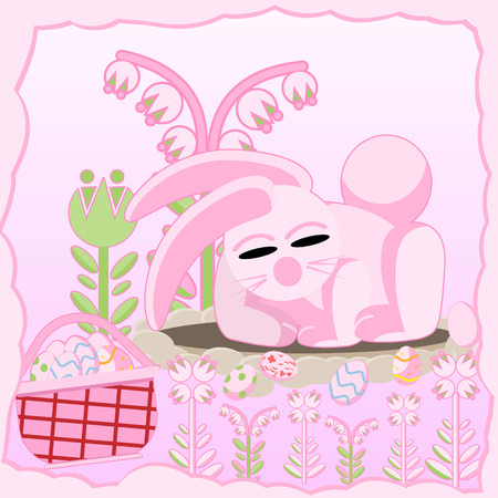 Vector flat illustration of a pink rabbit near a hole among flowers sleeping near a basket of Easter eggs Illustration