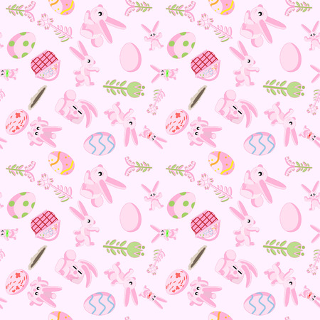 vector seamless flat pattern of pink rabbits in different poses, plants and Easter eggs isolated pink background Illustration
