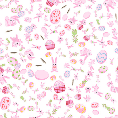 Flat pattern of pink rabbits in different poses, plants and Easter eggs isolated white background. Illustration