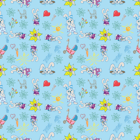 vector seamless pattern childrens illustration of set of element for design with bunnies, flowers, hearts, sun, colored background