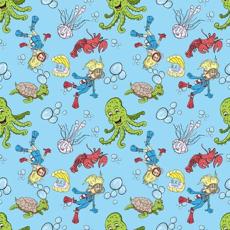 vector seamless pattern illustration on isolated background of a boy and girl wearing scuba gear among water animals turtle, crab, octopus, jellyfish, blue background 版權商用圖片