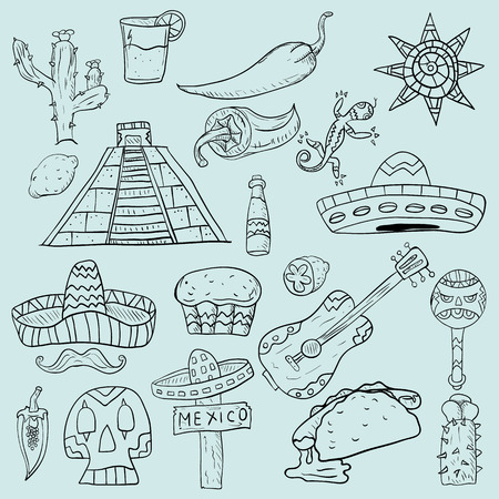Contour vector illustration on isolated background of Mexican elements for design cacti, sombreros, and other symbols of the country Mexico.