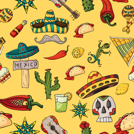 seamless pattern vector illustration on isolated background Mexican design elements cacti, sombrero, and other Mexico country symbols, yellow background Archivio Fotografico - 98561901