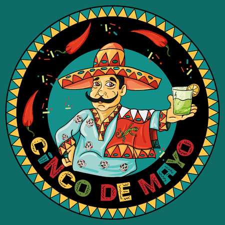 Vector illustration of a Mexican waiter in a sombrero holding a drink Illustration