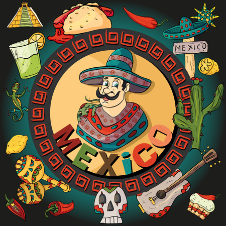 Illustration of a man in a hat and a poncho in a circular pattern among Mexican symbols