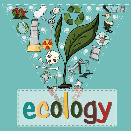 vector illustration set of design elements on the theme of ecology earth pollution effects of human activities 向量圖像
