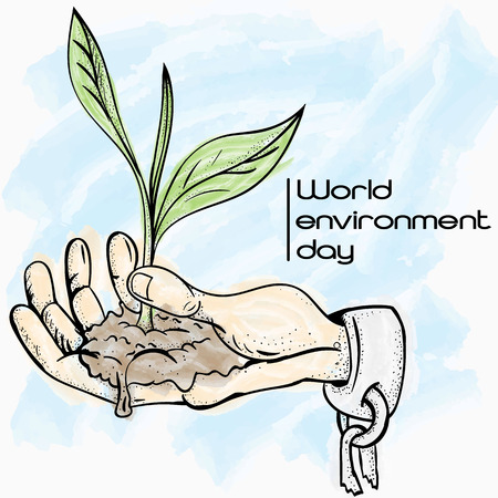 vector illustration of a hand in shackles holding a sprouting plant in the palm, symbolizing world environment day, the background is isolated