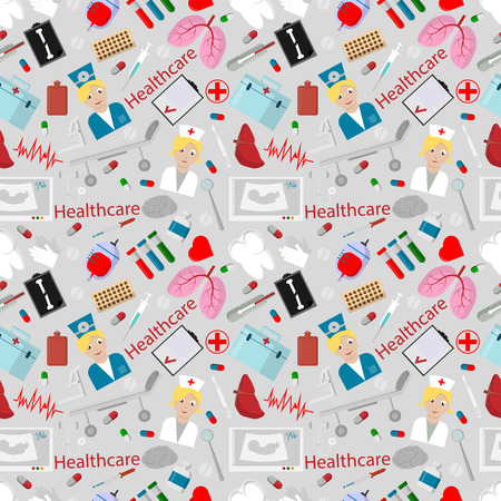 vector seamless pattern illustration flat set of elements for design health care the medical staff, tools, human bodies, the background is isolated