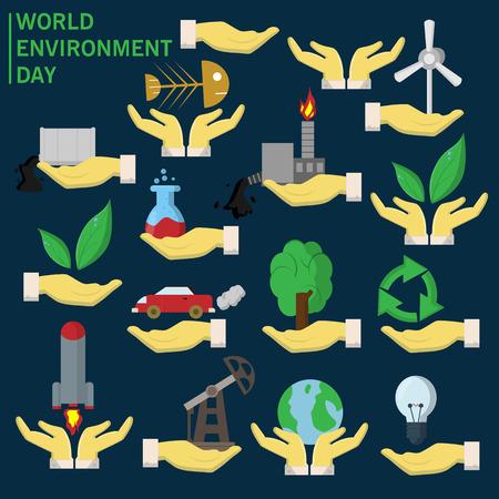 Éléments pour la conception de la paume détient diverses activités humaines sur le thème de la journée mondiale de l'environnement, l'arrière-plan est isolé.