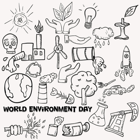 vector contour set of elements for design various objects of human activities the theme for world environment day, the background is isolated  イラスト・ベクター素材