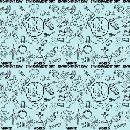 vector contour, seamless, pattern, of elements for design various objects of human activities the theme for world environment day, the background is isolated