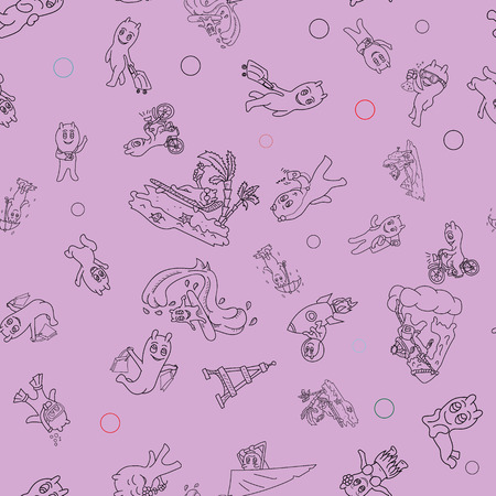 vector seamless pattern contour illustration Doodle funny little men in the style of Chibi with horns in a variety of situations background is isolated