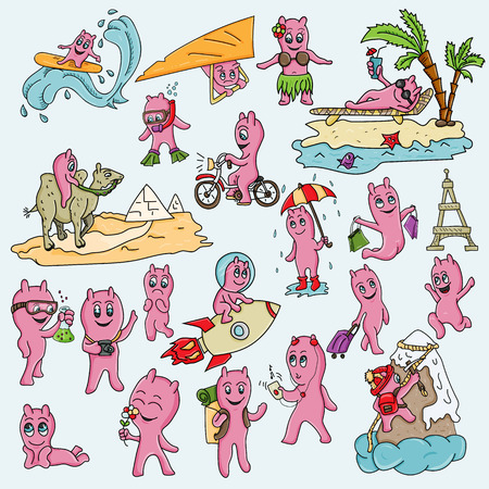 vector illustration of a set of funny pink men in the Chibi style with horns in different situations and different objects, poses and emotions, Doodle Ilustração