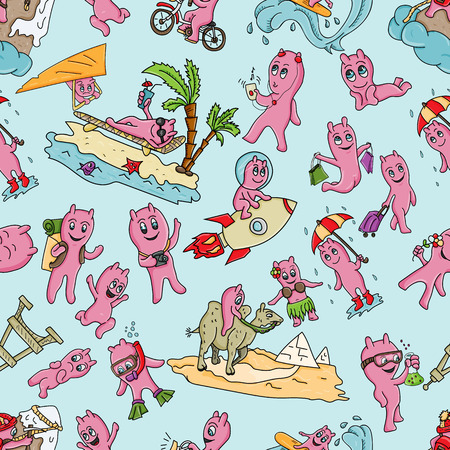 vector seamless pattern illustration Doodle funny little men in the style of Chibi with horns in a variety of situations background is isolated Illustration