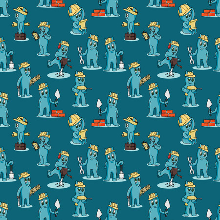 vector seamless pattern contour illustration of funny Doodle little men in Chibi style with horns in different construction situations with tools background isolated Vectores