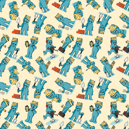 vector seamless pattern contour illustration of funny Doodle little men in Chibi style with horns in different construction situations with tools background isolated Иллюстрация