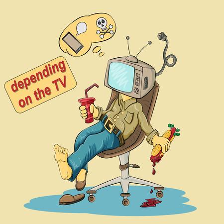 Ilustración vectorial de una persona sentada en una silla con un televisor en lugar de una cabeza entre las manos sosteniendo comida y bebida rápida, un problema social de la dependencia de la sociedad de la televisión, malos hábitos