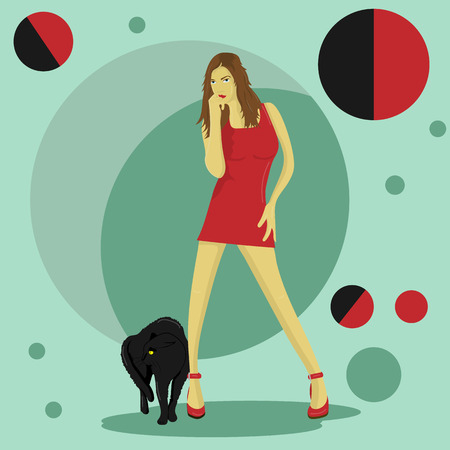 illustration of a girl in a red dress with a black angry cat at her feet Illustration