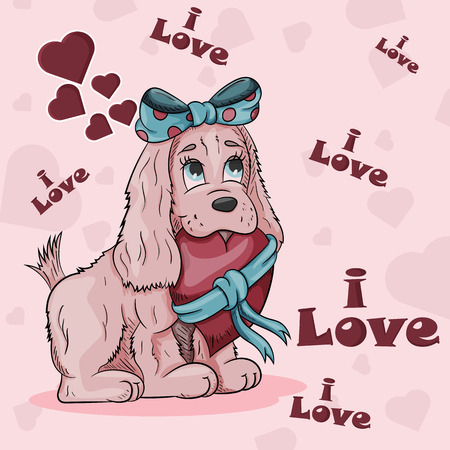 vector illustration of a little dog girl with a bow holding in her mouth a heart tied with a ribbon on the background of hearts and lettering I love Ilustração