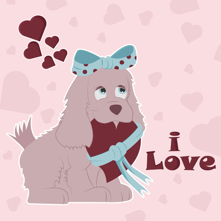 vector illustration of flat little dog girl with bow holding a heart in her mouth tied with a ribbon on the background of hearts and lettering I love