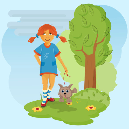 vector flat illustration, little girl in blue dress in red shoes walking with pet, dog on a leash among the flowers of the bushes in a clearing in the Park