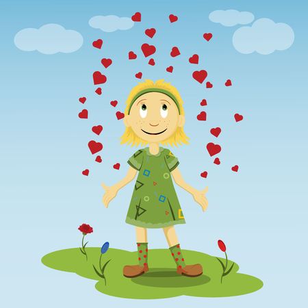 vector flat illustration of a little girl standing on a green lawn in a green dress among the flowers spreading her hands to the sides of which the hearts rise Stock Illustratie