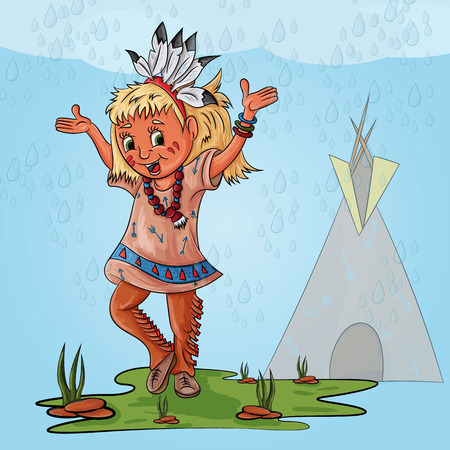 vector illustration of a little Indian girl in traditional clothes with feathers on her head with her hands up happy rain