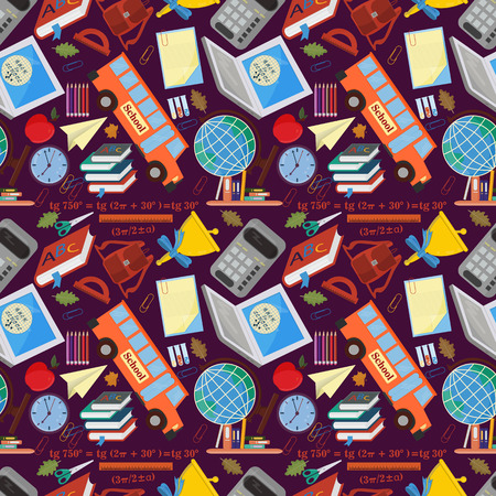 vector seamless pattern on a school theme, the Association for educational institutions, items, globe, food, instruments, pencils, lanaki, all that is connected with learning, the background is isolated