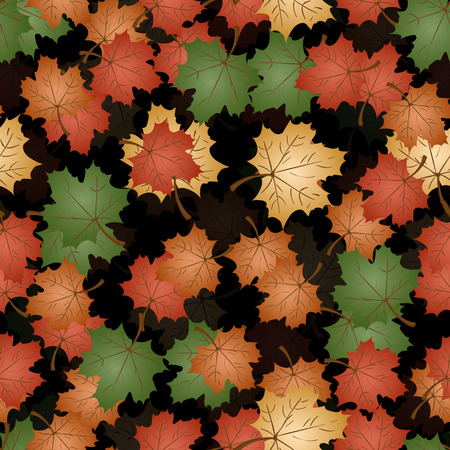 vector seamless pattern on autumn theme, maple leaves in different colors and positions, back translucent background is isolated Vecteurs