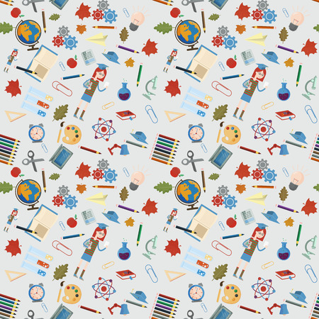 vector seamless pattern on a school theme, the Association for educational institutions, items, globe, food, instruments, pencils, lanaki, all that is connected with learning, the background is isolated 스톡 콘텐츠 - 112350980