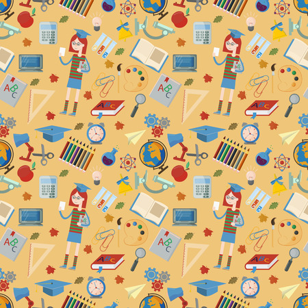 vector seamless pattern on a school theme, the Association for educational institutions, items, globe, food, instruments, pencils, lanaki, all that is connected with learning, the background is isolat