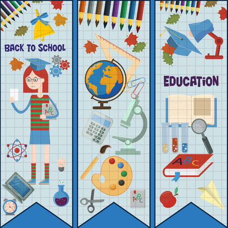 vector flat illustration of subjects and girls on school subject, education, back to school, Association for educational institutions, background isolated  イラスト・ベクター素材