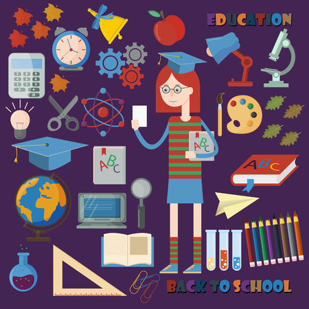 vector flat illustration of subjects and girls on school subject, education, back to school, Association for educational institutions, background isolated 矢量图像