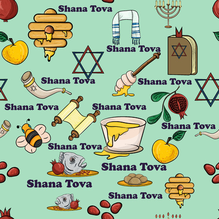 vector seamless pattern illustration on the theme of the Jewish new year, Rosh Hashanah, Shana Tova, happy and sweet New year, design elements, concept, things for the holiday, the traditions of the people, Ilustrace