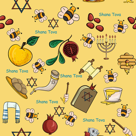 vector seamless pattern illustration on the theme of the Jewish new year, Rosh Hashanah, Shana Tova, happy and sweet New year, design elements, concept, things for the holiday, the traditions of the people, Illustration