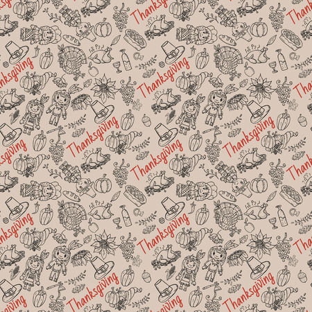 vector seamless pattern illustration in the style of childrens thanksgiving drawing, Doodle for design and decoration children and holiday symbols national event Illustration
