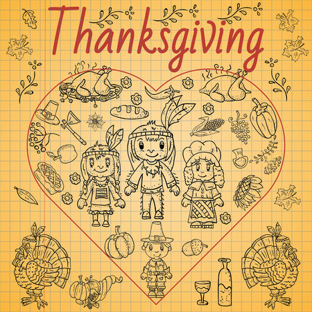 vector illustration in the style of childrens thanksgiving drawing, Doodle for design and decoration children and holiday symbols national event