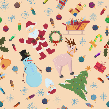 vector seamless pattern on Christmas and new year theme in flat style, children Doodle, background can be replaced