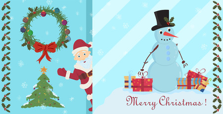 vector layout of postcards on Christmas and new year theme in the style of flat childrens Doodle