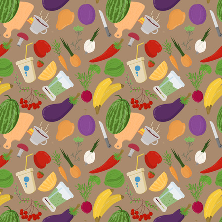 vector seamless pattern illustration of flat style vegetables and fruits berries for healthy eating vegetarian food background isolated