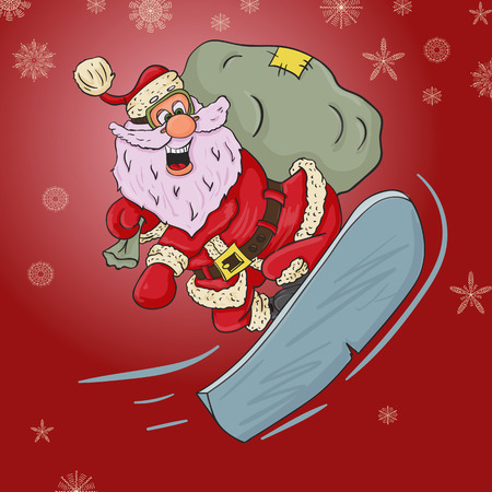 vector childrens illustration on Christmas and new year theme in flat Santa Claus style with a bag of gifts flying on a snowboard Ilustracje wektorowe