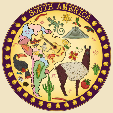 vector color drawing on South America theme, animals, buildings, plants, holidays, continent map, food design elements, sticker circular ornament all illustrations on separate layers Illustration